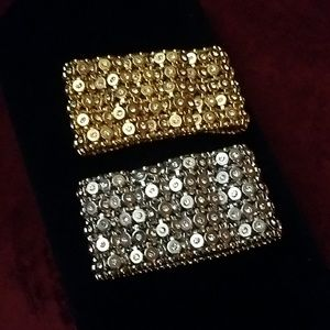 Stretch gold & silver plated cuff's with crystals